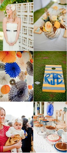 I really like all these colors together! monogramed lawn game (photography by Elyse Hall)