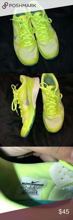 Neon Nike Dual Fusion Training Sneaker Bright Neon Yellow/Green With a Blue/Teal Accent. Used a Handful of Times. Great Condition! Nike Shoes Sneakers