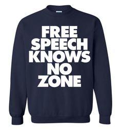 Free Speech Knows No Zone Gildan Crewneck Sweatshirt