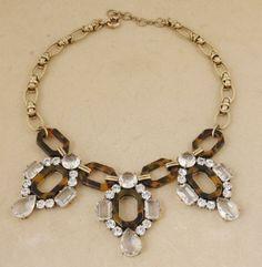 Free Shipping Vintage J C Clear Crystal Tortoise Statement Bib Beaded Necklace   eBay