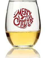 "Chloe and Madison ""Merry Christmas"" Stemless Wine Glass, Set of 4, 15 oz"