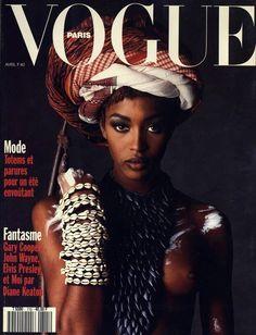 Naomi Campbell en couverture du numéro d'avril 1991 de Vogue Paris http://www.vogue.fr/thevoguelist/naomi-campbell/75