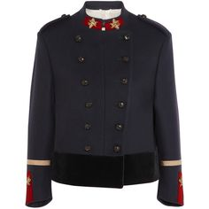 Gucci Double-breasted appliquéd wool jacket found on Polyvore featuring outerwear, jackets, casacos, gucci, blue, wool collar jacket, black wool jacket, button jacket, double breasted military jacket and black button jacket