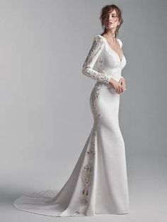 ABBOT, IVORY/PEWTER WITH SOFT NUDE ACCENTS Crepe Wedding Dress, Perfect Wedding Dress, Dream Wedding Dresses, Designer Wedding Dresses, Bridal Dresses, Wedding Gowns, Lace Wedding, Lesbian Wedding, Wedding Menu