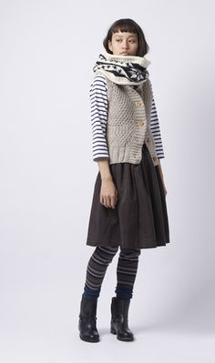 neck warmer, knitted vest, and stripes