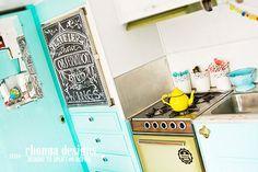 Refurbished Kitchen area complete w/ chalkboard fridge. Put one of my fave traveling quotes on it w/ liquid chalk pen. Inside of my Dazey glamper.  #glamping #vintagetrailer