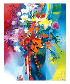 Maybe for the wall straight ahead in your office as you walk in!! Bold color, movement and life!!  Bouquet en Mouvement Giclee Print by Max Laigneau at Art.com