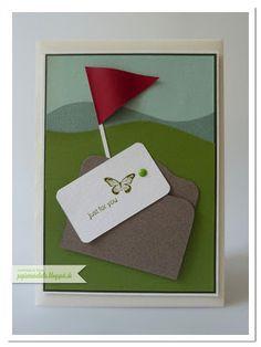 papierrascheln.blogspot.de 》Eine Golfkarte mit den Maßen 105mm x 145mm. Das kleine graue Mäppchen wurde mit der 'Bigz Two Tags' -Form hergestellt, welches durch das zur Seite schieben des Tags öffnen lässt.