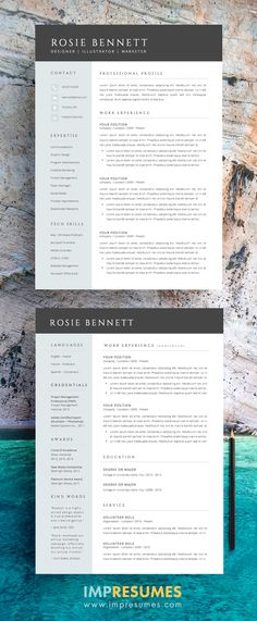 Modern Resume Template for Word and Pages (1, 2 \ 3 Page Resumes + - sophisticated resume templates