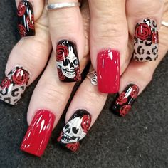 Skulls , roses, and leopard by Oli123 from Nail Art Gallery