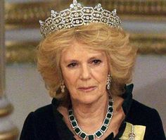 Camilla wears the Queen Mother's Boucheron tiara and the Queen Elizabeth II Family Order, given to female members of the royal family, for the State Banquet at Buckingham Palace in honour of South African president Jacob Zuma last night.