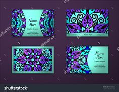 Vector Vintage Visiting Card Set. Floral Mandala Pattern And Ornaments. Oriental Design Layout. Islam, Arabic, Indian, Ottoman Motifs. Front Page And Back Page. - 375384844 : Shutterstock