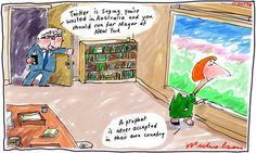 Julia Gillard castigates Tony Abbott for misogyny. Her fiery speech praised in US media. Cartoon 2012-10-11