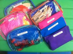 organizing busy bag activities. I love the use of the pencil bags and cosmetic bags.  Much more durable than ziploc
