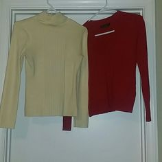 Shirt bundle Yellow turtle neck sweater size M  Red V cut sweater size M but fits more like a S  Both worn once. No stains or signs of wear  Will separate if you want one or the other.   *Reasonable offers will always be considered * **Please use the offer button :) ** Tops Tees - Long Sleeve