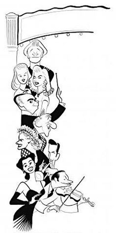'johnson, allyson, iturbi, dehaven, durante, allen, james, horne and cugat in two girls and a sailor' by al hirschfeld (1944)