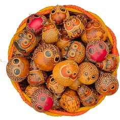 Owls Mix of 20 Petite Gourd Ornaments with Large Picture - Lucuma Designs