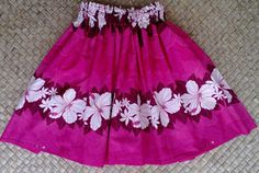 girl's pink hula pa'u hula skirt by SewMeHawaii on Etsy