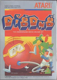 "Box art for the Atari 2600 version of the arcade game ""Dig Dug,"" released by Namco / Atari for the platform in 1983."