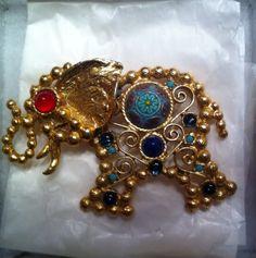 Vintage Rhinestone Juliana Elephant Brooch by MyGreatVintageFinds. On Etsy $175