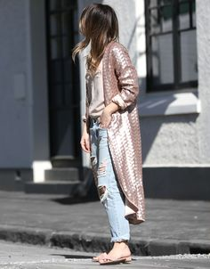 Jasmin Howell of Friend in Fashion makes sequins work for the daytime by pairing a sequin duster coat with denim and slides