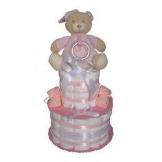 Gâteau de couches garni d'un joli doudou ourson musical. Cadeau Baby Shower, Couches, Princess Peach, Party, Character, Quirky Gifts, Pretty, Gift Ideas, Bebe