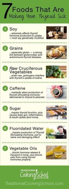 7 Foods That Are Making Your Thyroid Sick | Every cell in the body depends on thyroid hormones for regulation of their metabolism. So if your thyroid is sick, your entire body will suffer. Learn about the 7 foods that are detrimental to your thyroid and the science behind WHY they're causing thyroid diseases like Hashimoto's and hypothyroidism. | TraditionalCookingSchool.com #Exerciseandyourthyroid #hashimoto'sthyroiditis