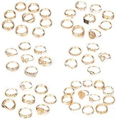 Hanpabum 50 Pcs Stackable Rings for Women Gold Joint Knuckle Rings Statement Rings Set