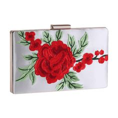 Floral Embroidery Clutch Bag White (28 CAD) ❤ liked on Polyvore featuring bags, handbags, clutches, white purse, white clutches and white handbag
