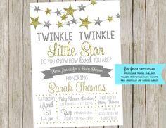 Twinkle twinkle little star invitation on Etsy listing at https://www.etsy.com/listing/500849740/twinkle-twinkle-little-star-baby-shower