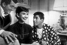 Audrey Hepburn meets Dean Martin and Jerry Lewis in their dressing room at Paramount