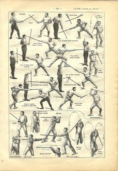 1908 French sport dictionary cane & baton illustration