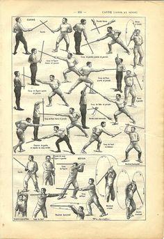 1908 French sport dictionary cane & baton illustration