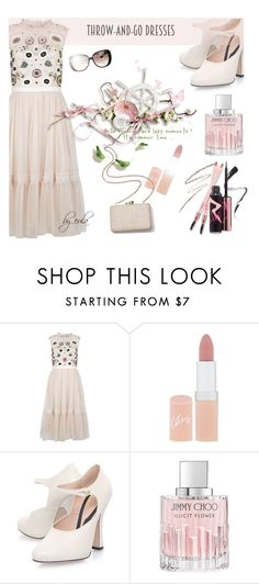"""""""Easy Peasy: Throw-and-Go Dresses"""" by eula-eldridge-tolliver ❤ liked on Polyvore featuring Needle & Thread, Rimmel, Kayu, Jimmy Choo and Gucci"""