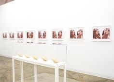"""Susan Silas: """"the self-portrait sessions"""" installation view. Exhibition continues through July 17 2016. .  http://cb1.co/6s . """"The title series in the exhibition eight quadruple self-portraits are Rorschachs of the artist shoulder to shoulder and cheek to cheek. All are similar enough to cause repetitive confusion but reveal the subtlety of posture and eye contact (or not) that was the strategy of the silent film star. Indeed the entire exhibition has a """"Sunset Boulevard"""" patina particularly…"""
