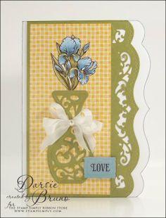 card created using @Spellbinders Die D-Lites Filigree Vase, A2 Bracket Borders One with @JustRite Papercraft, Inc. stamp sets
