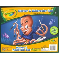 """Crayola Marker & Watercolor Pad is perfect for budding artist using a variety of mediums.    The paper pad has 50-10"""" x 8"""" sheets of heavy bright white paper."""