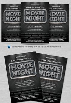 Movie Night Flyer. Flyer Templates. $8.00