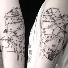 #mulpix Full view of this Egon Schiele cityscape tattoo I made 2 days ago at…