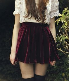 Burgundy velvet skater skirt, black knee high socks and crème chiffon lace shirt