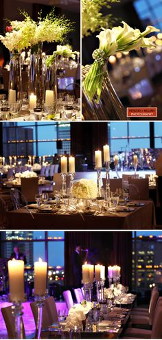 clear and white centerpieces