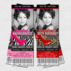 Bachelorette or Birthday Ticket Invitation Girls Night Out by nowanorris (printable)