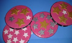 handmade extra thick stars gone wild coasters set by HomespunPinup, $6.00