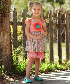 Loving this Coral Floral Ruffle Angel-Sleeve Tunic & Pants - Toddler & Girls on #zulily! #zulilyfinds