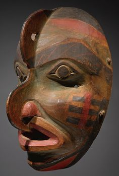 Tlingit polychrome hawk mask carved wood, pigments,  probably represents human/hawk hybrid 9.75""