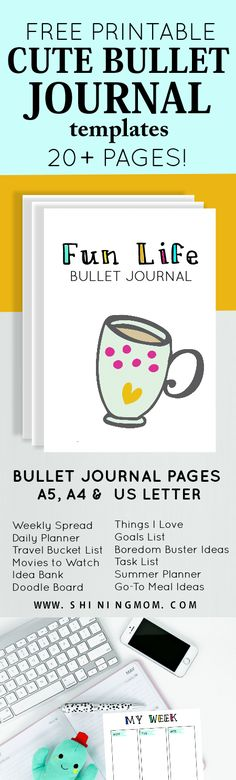 Free Printable Bullet Journal Templates from Shining Mom {subscription required}