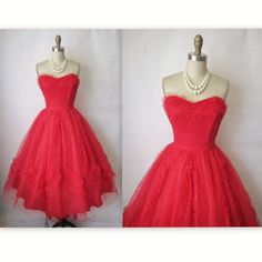 50's Prom Dress //  Vintage 1950's Strapless by TheVintageStudio, $142.00