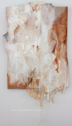 """Tearing Away ; machine embroidery, fabric, vintage lace and mixed media on wood panel ; 51"""" X 27"""" $450 #art #artist #deeannrieves www.deeannrieves.com"""