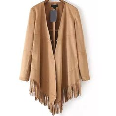 Long Sleeve Suede Tassel Khaki Coat (1.57 BAM) ❤ liked on Polyvore featuring outerwear, coats, long sleeve coat, beige coat, khaki coats, suede coat and suede leather coat