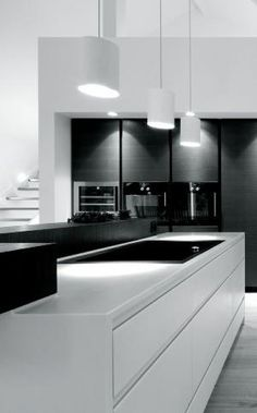 black and white kitchen by lenore